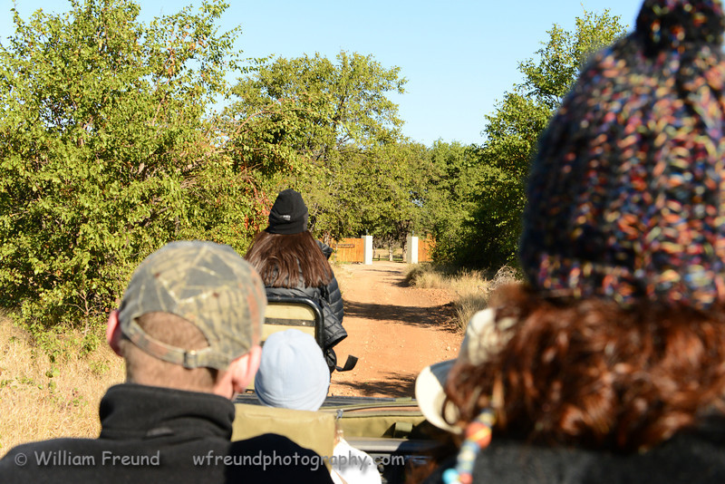 Lauren riding the spotter's chair as we approach Senalala.  Senalala Game Lodge, South Africa