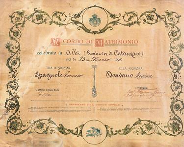 Marriage Certificate of Thomaso Spagnolo & Rosina Dardano
