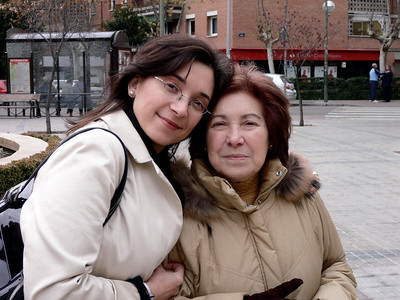 Susana and Maria Rosa in the Plaza in downtown Barajas