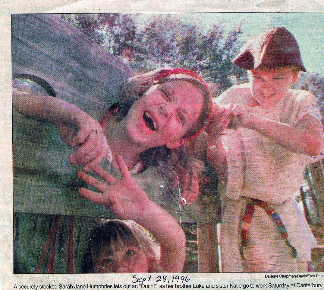 This was a newspaper clipping.  Will have to find out what event this was that they went to.  As you can see Luke and Katie are torturing Sarah Jane in the stocks.   Ha. Not really.