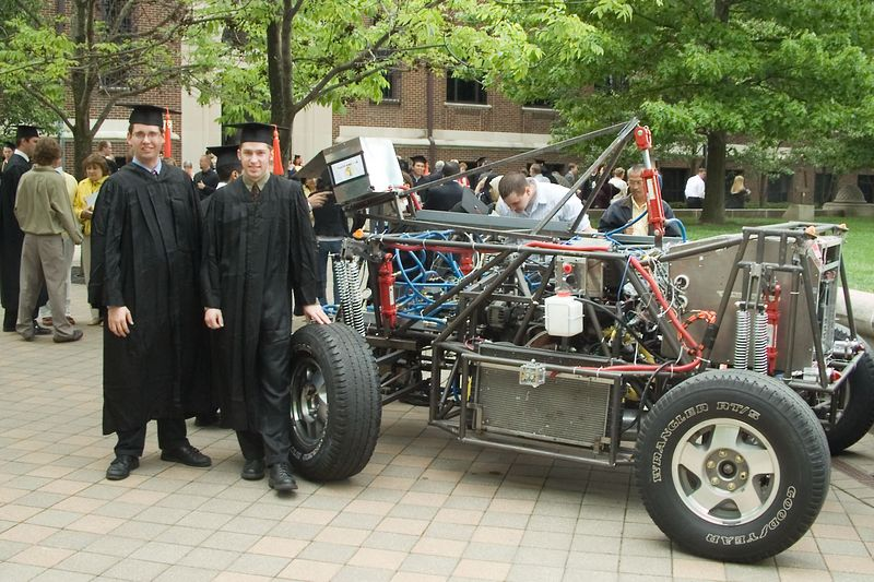 Tim and Spencer with the PAVE car