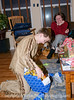 Spencer opens a birthday gift on his tenth birthday.
