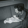 Heather (one week old) with Jo. September, 1957. 12202 E. 19th, Opportunity (now Spokane Valley), Washington.
