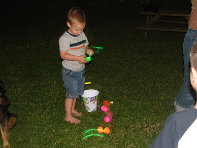 Grant Foster.  Hunting Easter Eggs in the dark at the Foster's.