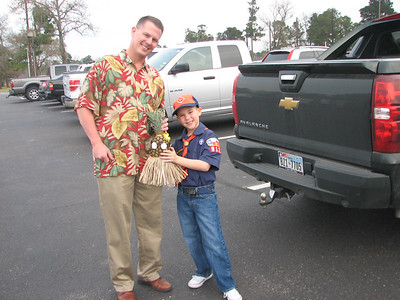 Sean and Garrett ready for the Cub Scout Luau at Tour 18.