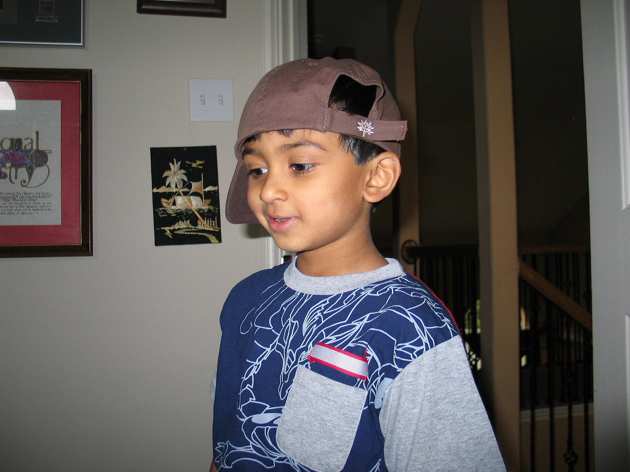 Rithik at home, sporting his b-boy cap.  Just getting ready to leave!