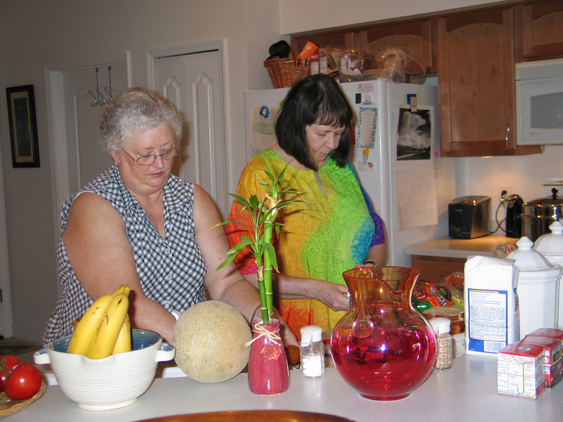 Grandma and Auntie Jill from Great Brittan working on sandwiches for the space shuttle launch