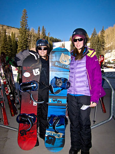 Sierra and Cole are geared up for their lessons.