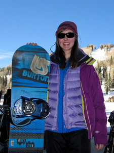 Sierra lookin cool with her snowboard.