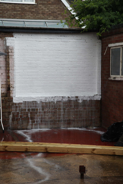 first coat of paint - nicely washed off by the rain !!!