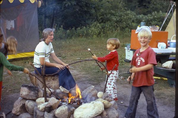 Blowing marshmallows.  Kettle Moraine, Wisconsin.