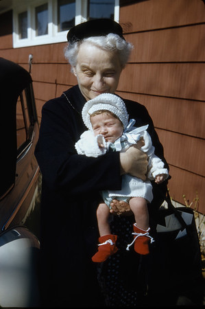 Barbara 3 weeks with Grandma
