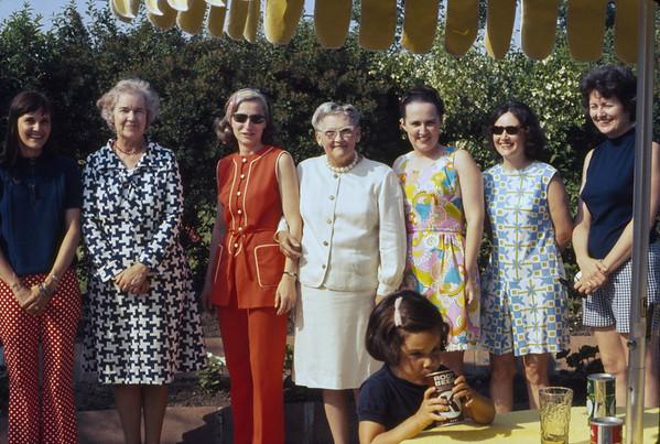 Kay, Katie, Jan Moore, Loretta, Sue, Marcia, Jan Hale with Katie Hale.  Country Club Hills.