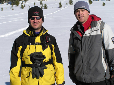 Scott & Bear snowshoeing on Rabbit Ears pass