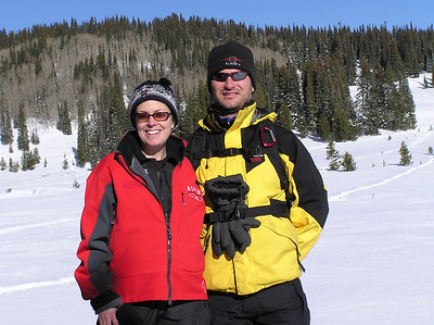 Jackie & Scott snowshoeing on Rabbit Ears pass