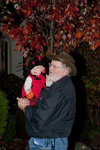 Ava and Uncle Stephen tick-or-treating.