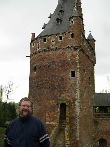 Dick in front of one of the castle towers.