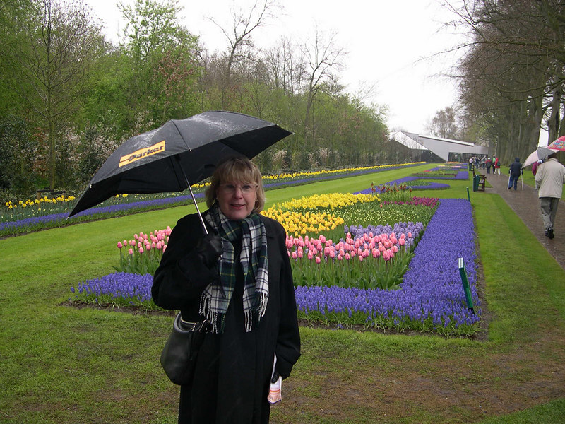 At Keukenhof in the Netherlands.  The tulips were late this year due to cold weather in Europe, so when we arrived on May Day, the flowers were at their peak.  Despite a cold rain, we thoroughly enjoyed our visit.
