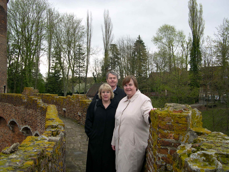 Kathy, Steve and Susan on top of the castle walls.