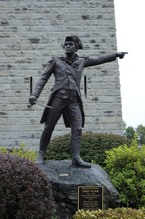 "Monument to Brigadier General John Stark, who led the colonials in the Battle of Bennington.  In a toast commemorating the battle, Stark wrote, ""Live free or die: Death is not the worst of evils."""