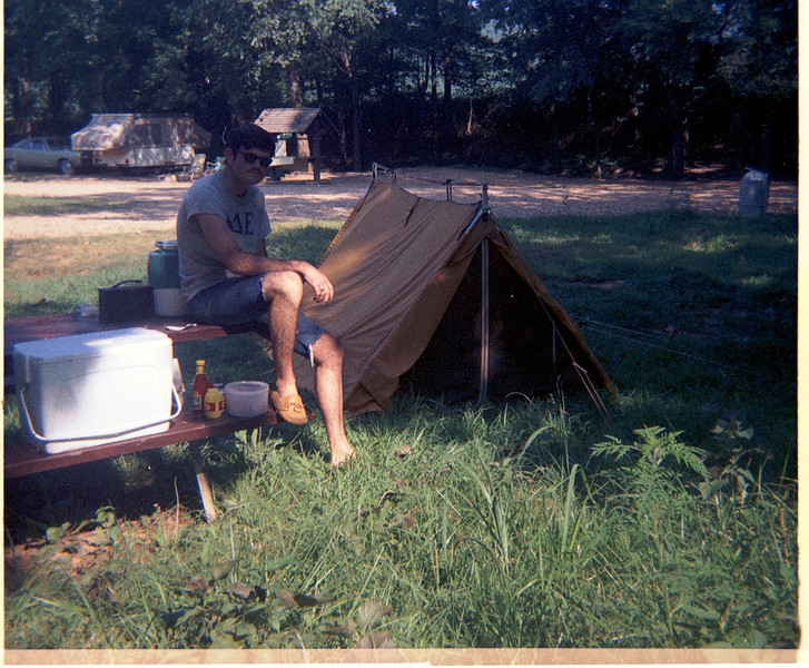 Walt Stinson, on road trip to family reunion in hot springs, ar. may 1970