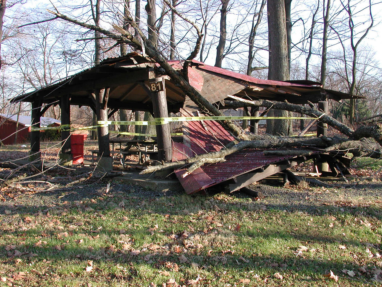 This is the pavillion in the park right next to my house. A big storm broke a tree on this little house and crushed it all up.