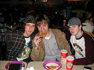 My brother's Josh, Brett and friend Scott. Brett ate almost a whole Pizza Pie himself!!