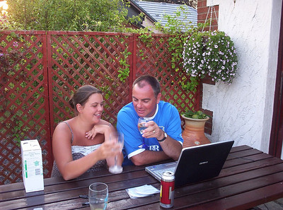 Hayley and I have a laugh and a drink on the patio at home last Summer.