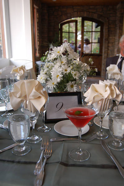 Karie loves daisies and selected them for all the centerpieces.   Also featured... Jill's cocktail!