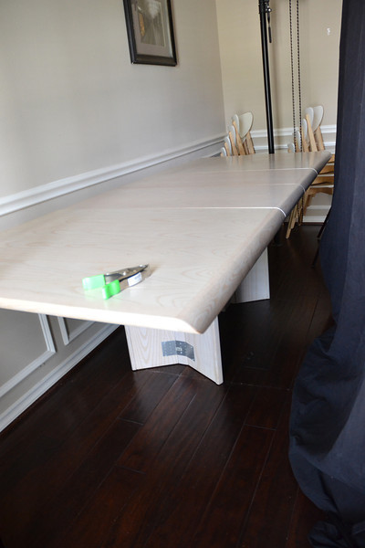 extra long, collapsable, dining room table with 6 chairs (not the ones shown)