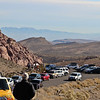 Calico Hills - visitors parked at a trailhead