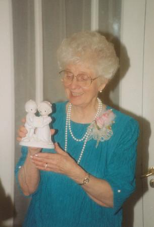 Eileen Sullivan opening gifts