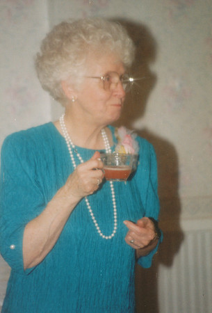 Eileen Sullivan getting a drink