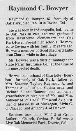Obituary - Raymond C  Bowyer - 03AUG1919-28FEB1971