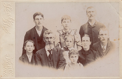Back Row: Alvin W. Bowyer, Carrie S. Bowyer, Charles L. Bowyer.  Middle Row: John Marshall Bowyer, John Marion Bowyer, William Owen Bowyer, Mary Susan (Delawter) Bowyer, Horace A. Bowyer.  Front: Iona F. Bowyer