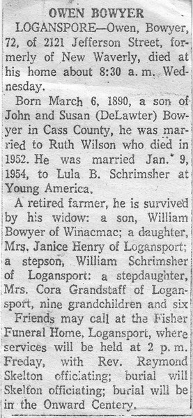Obituary - Owen Bowyer - 06MAR1890-16JAN1963