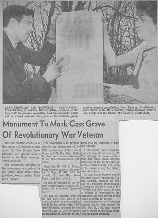 Monument to Mark Cass Grave of Revolutionary War Veteran - 1976