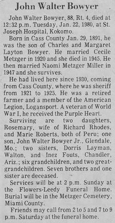 Obituary - John Walter Bowyer - 29JAN1891-22JAN1980