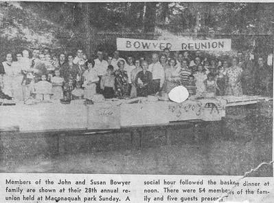 Newspaper - 28th Bowyer Reunion Photo