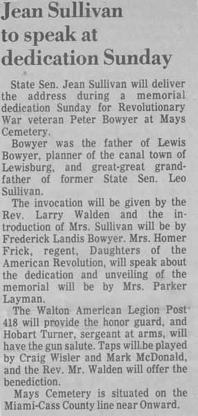 Jean Sullivan to speak at dedication Sunday - 1976