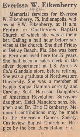 Obituary - Everissa W  (Waite) Eikenberry - 1984