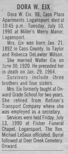 Obituary - Dora W  (Wilson) Eix - 21JAN1892-10JUL1990