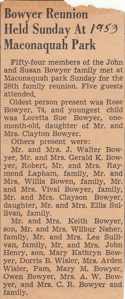 John & Susan Bowyer Family Reunion Newspaper Clipping 1953