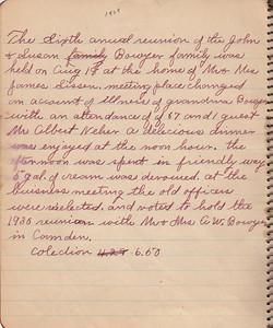 John & Susan Bowyer Family Reunion Minutes 1929