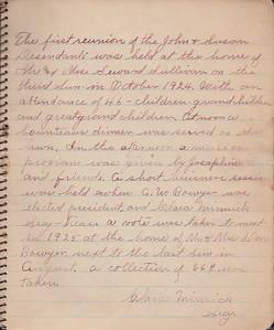 John & Susan Bowyer Family Reunion Minutes 1924