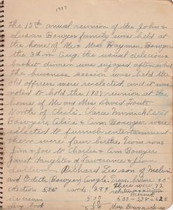 John & Susan Bowyer Family Reunion Minutes 1936