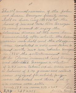 John & Susan Bowyer Family Reunion Minutes 1934
