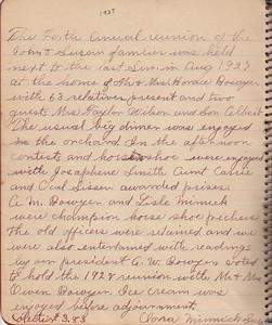 John & Susan Bowyer Family Reunion Minutes 1927