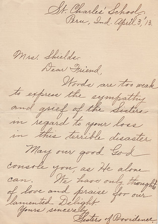 Handwritten Letter from Sisters of Providence - 03APR1913