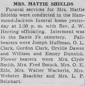 Funeral for Mrs. Mattie Shields - DEC1937
